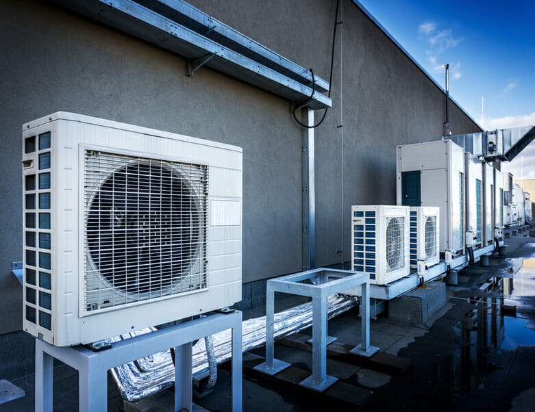 Square air conditioning unit on roof